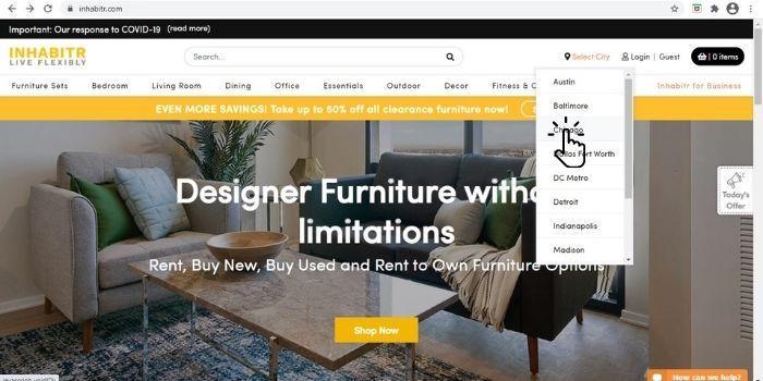 Inhabitr furniture rental website