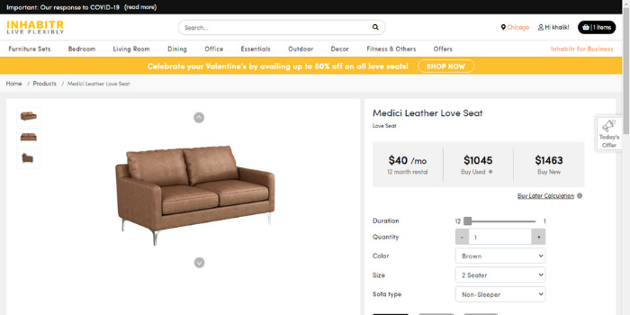 Inhabitr_Option to Rent, Buy New or Buy Used Furniture